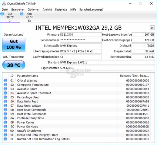 CrystalDiskInfo erkennt Optane Memory als PCIe-SSD