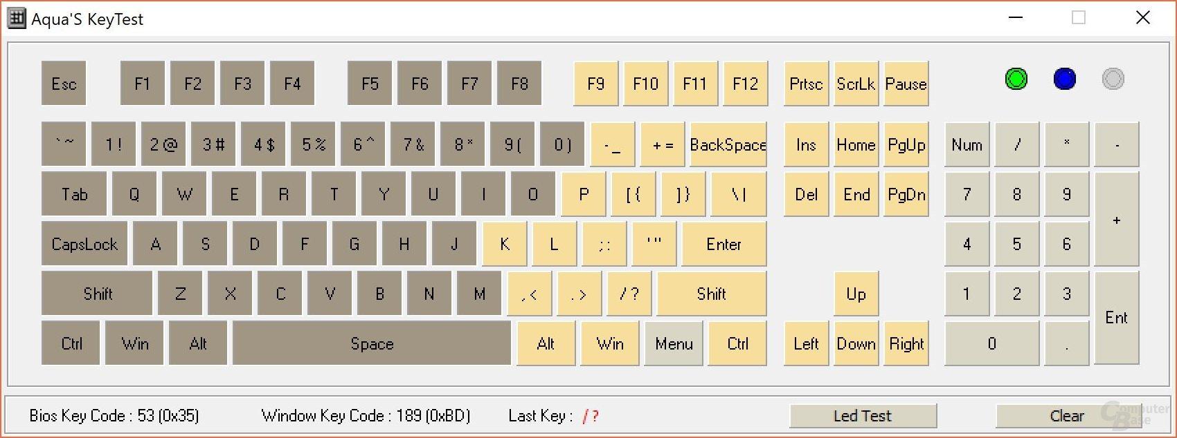 """N-Key-Rollover (""""KRO"""", Anzahl mindestens gleichzeitig drückbarer Tasten)"""