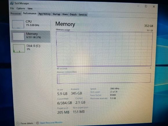 Intel Xeon Platinum 8180 im Windows-Taskmanager