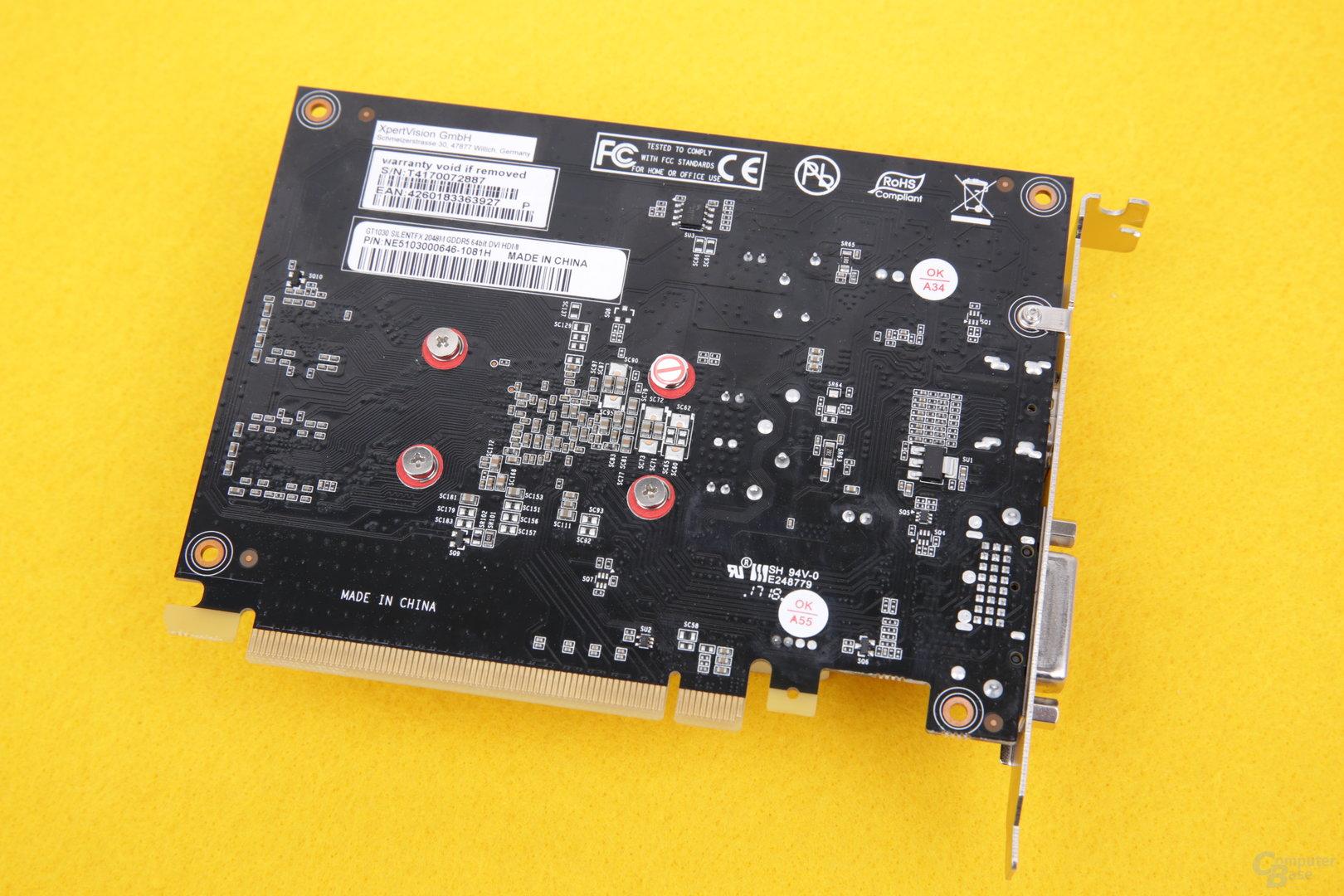 Gainward GeForce GT 1030 SilentFX – Kartenrückseite