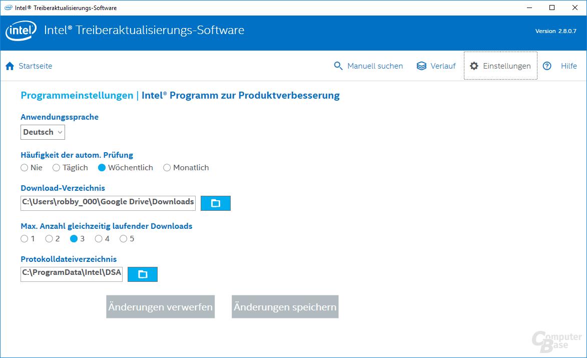 Intel Driver Update Utility – Einstellungen