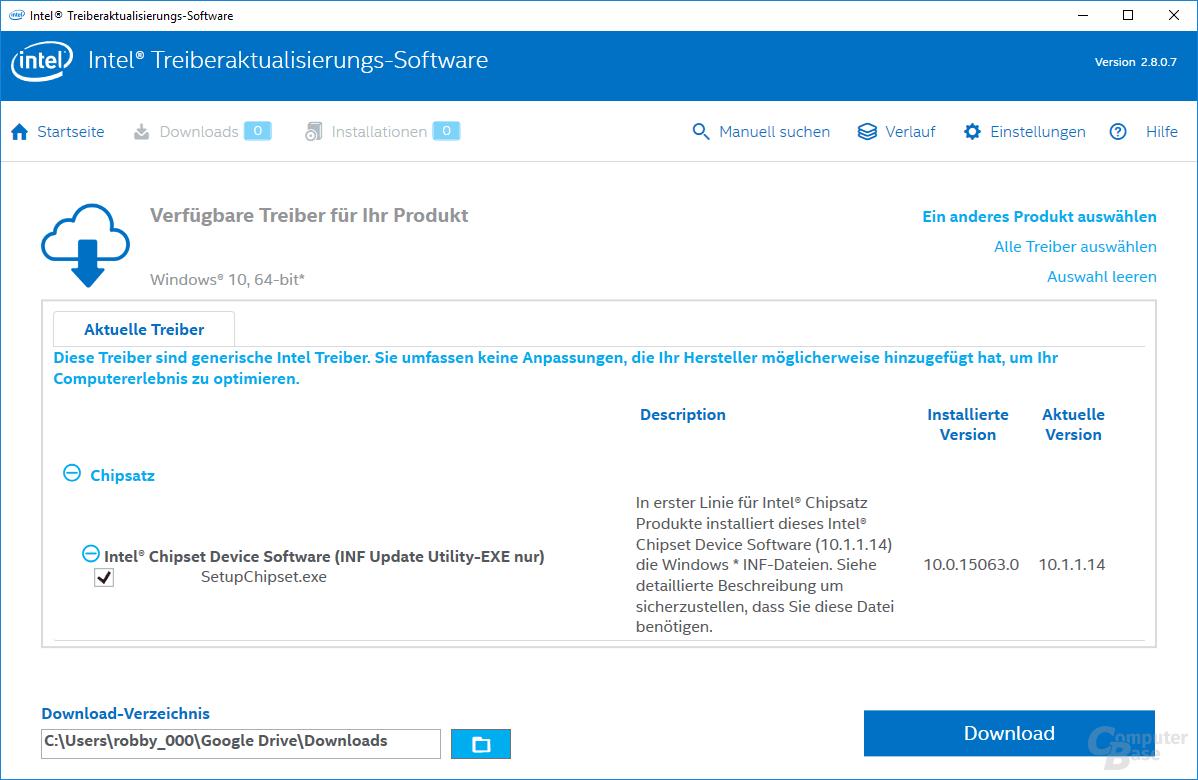Intel Driver Update Utility – Ergebnis