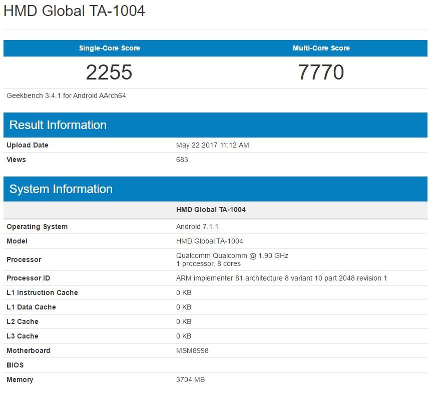 HMD Global TA-1004 im Geekbench