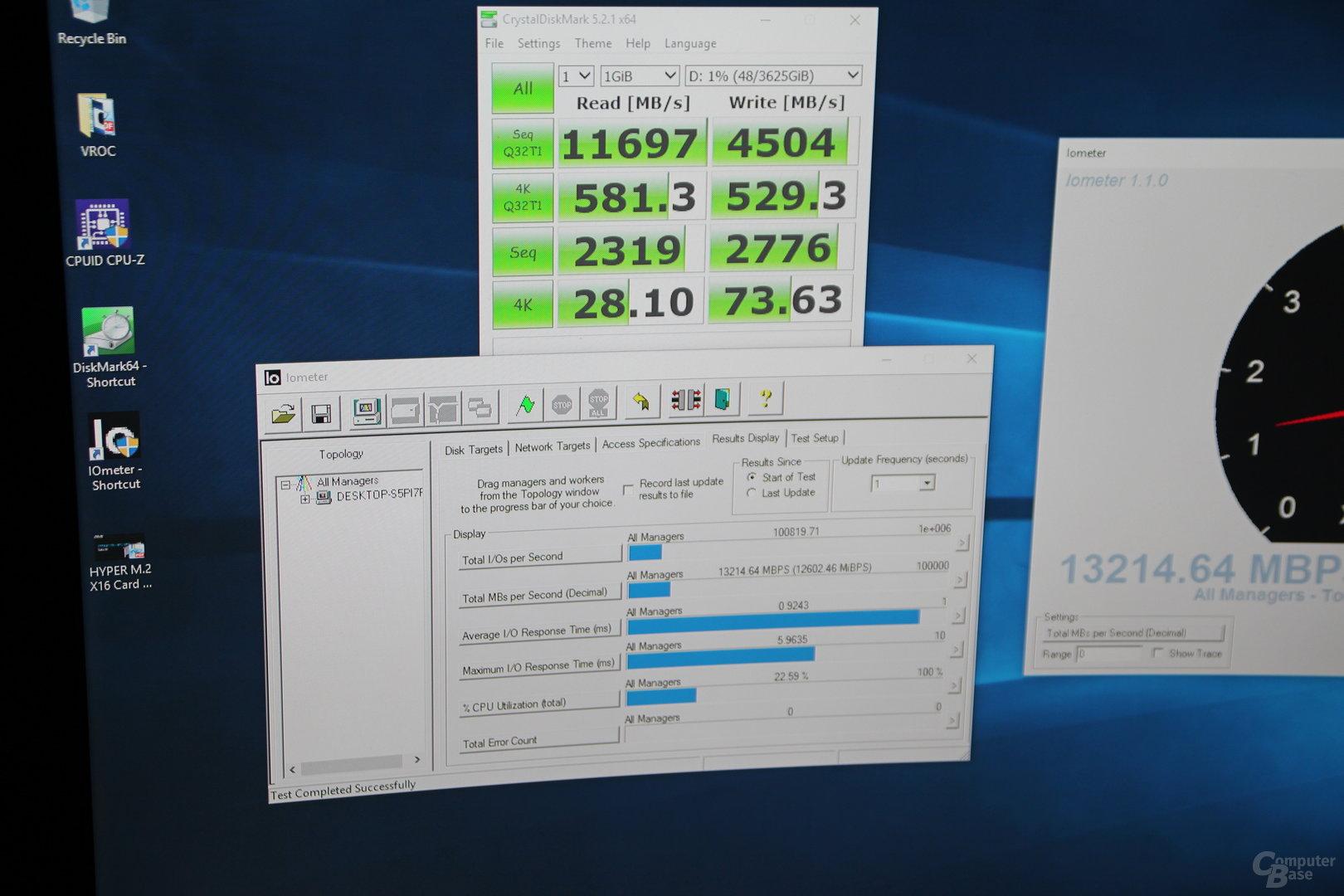 12 – 13 GB/s mit 4 M.2-PCIe-SSDs im RAID 0 via Asus Hyper M.2 x16 Card und Intel VROC