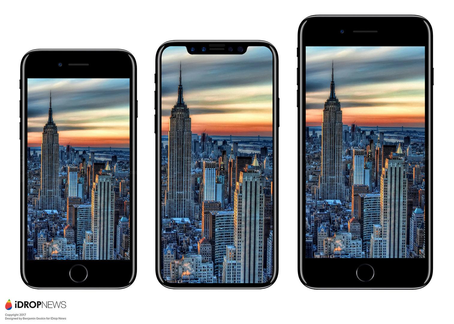 Größenvergleich zwischen iPhone 7, iPhone 8 und iPhone 7 Plus