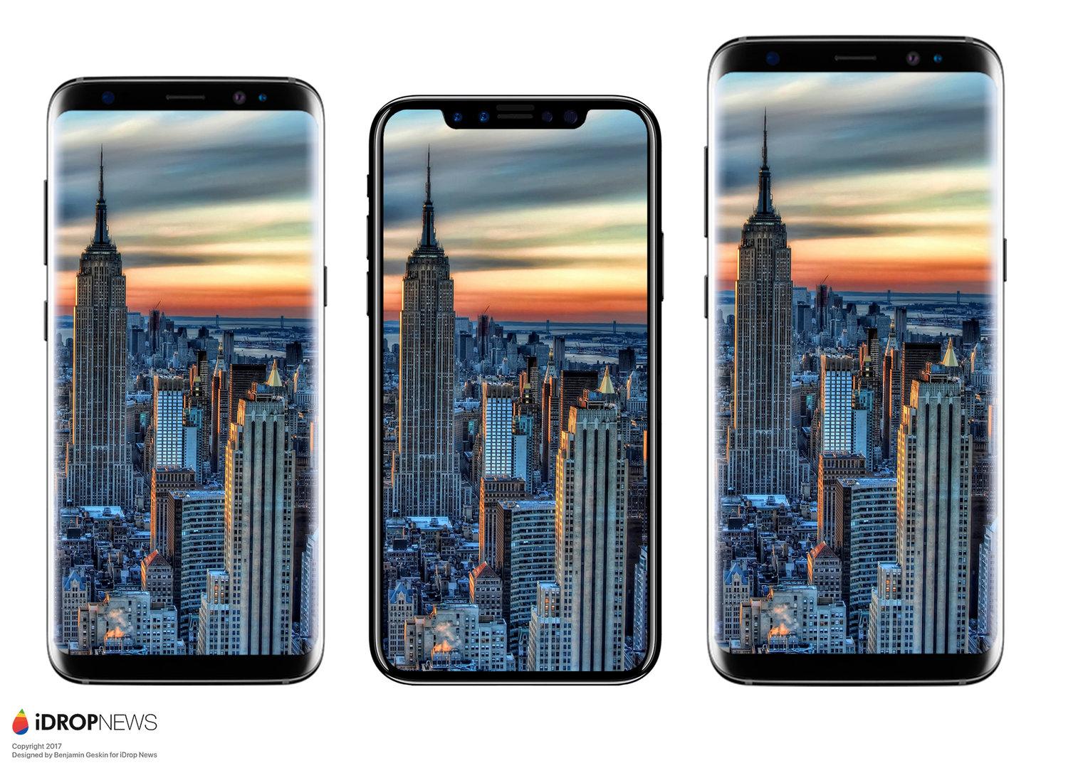 Größenvergleich zwischen Samsung Galaxy S8, iPhone 8 und Galaxy S8+