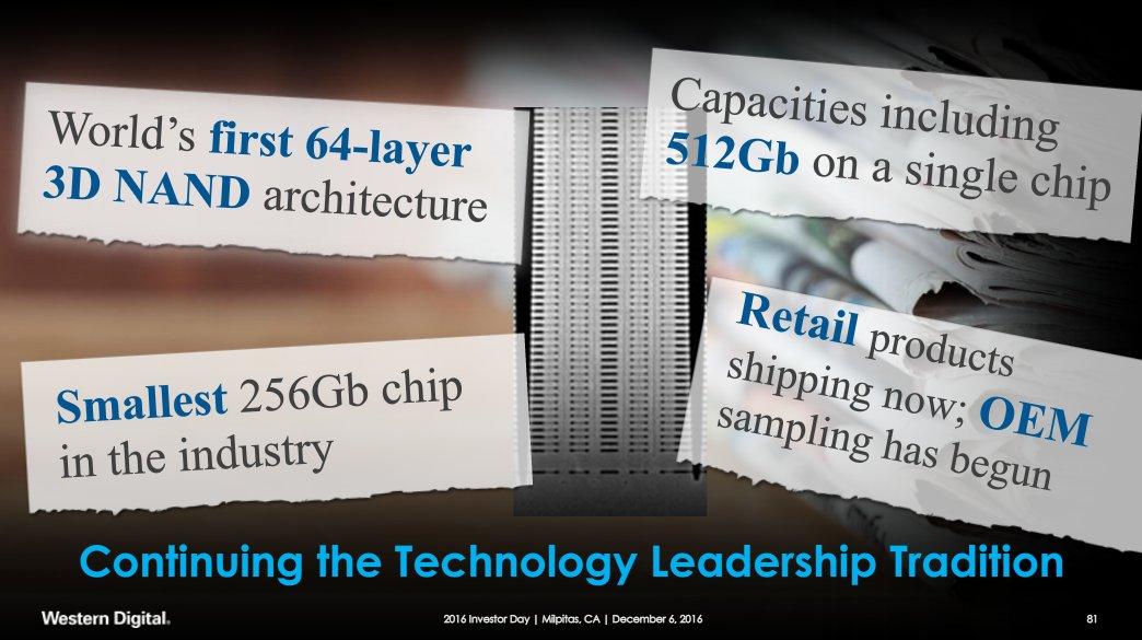 Dez. 2016: Toshiba/Western Digital sprechen vom kleinsten 256-Chip der Branche