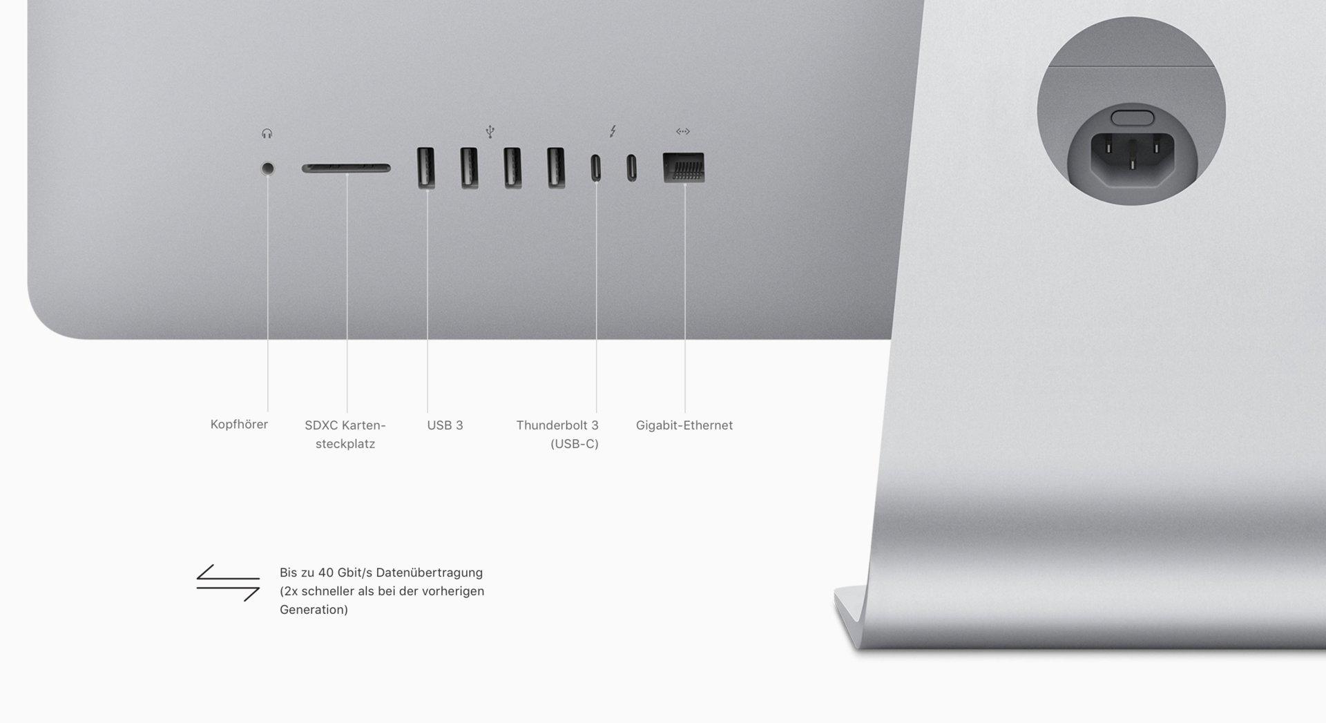 Anschlüsse am neuen iMac (Mid 2017)