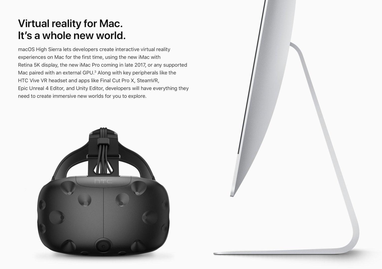 """VR auf dem Mac: Möglich mit den iMac 5K, dem iMac Pro und """"kompatiblen Mac"""" mit externer GPU"""