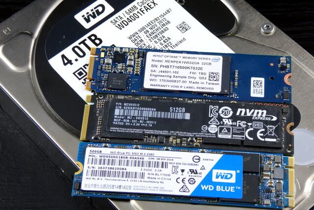 Intel Optane Memory, Samsung 950 Pro, WD Blue SSD (v.o.n.u.) auf WD Black HDD