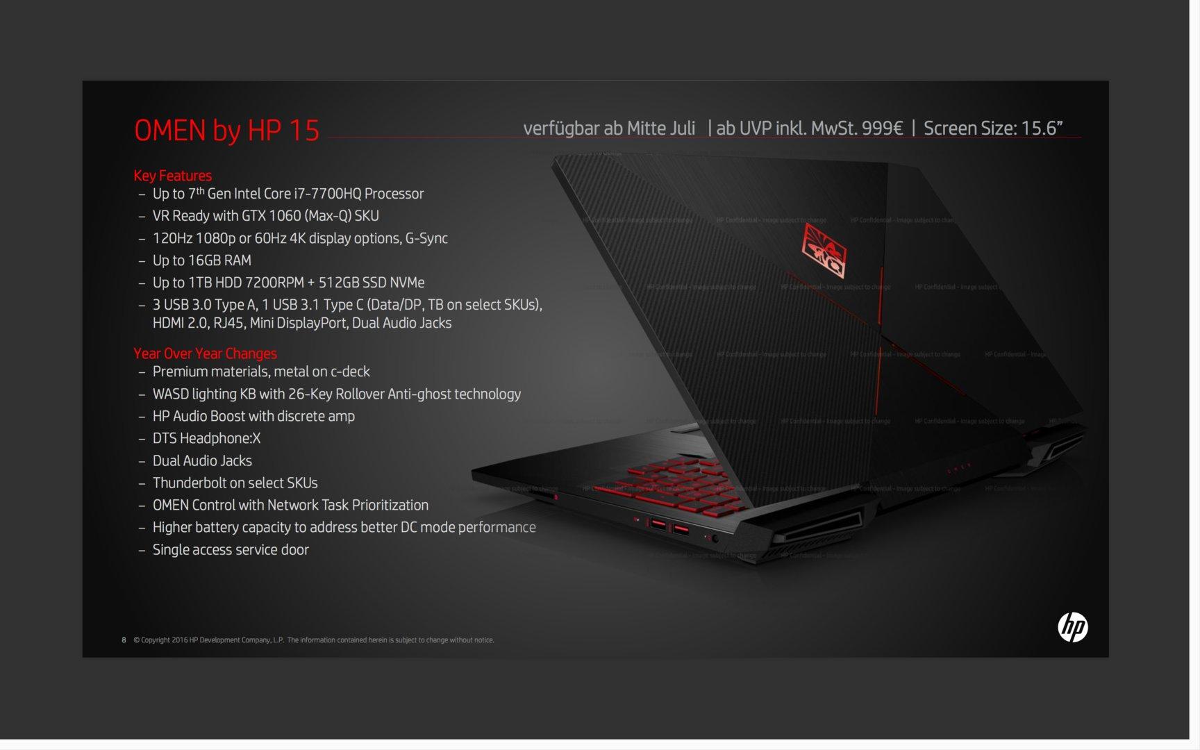 HP Omen 15 mit maximal GeForce GTX 1060