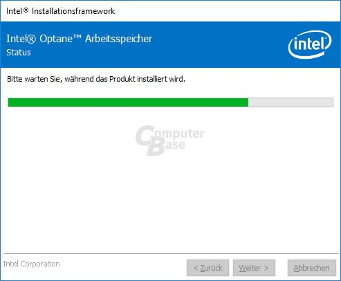 Installation der Optane Memory Software