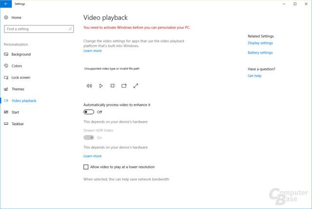 HDR-Einstellungen zum Video-Streaming
