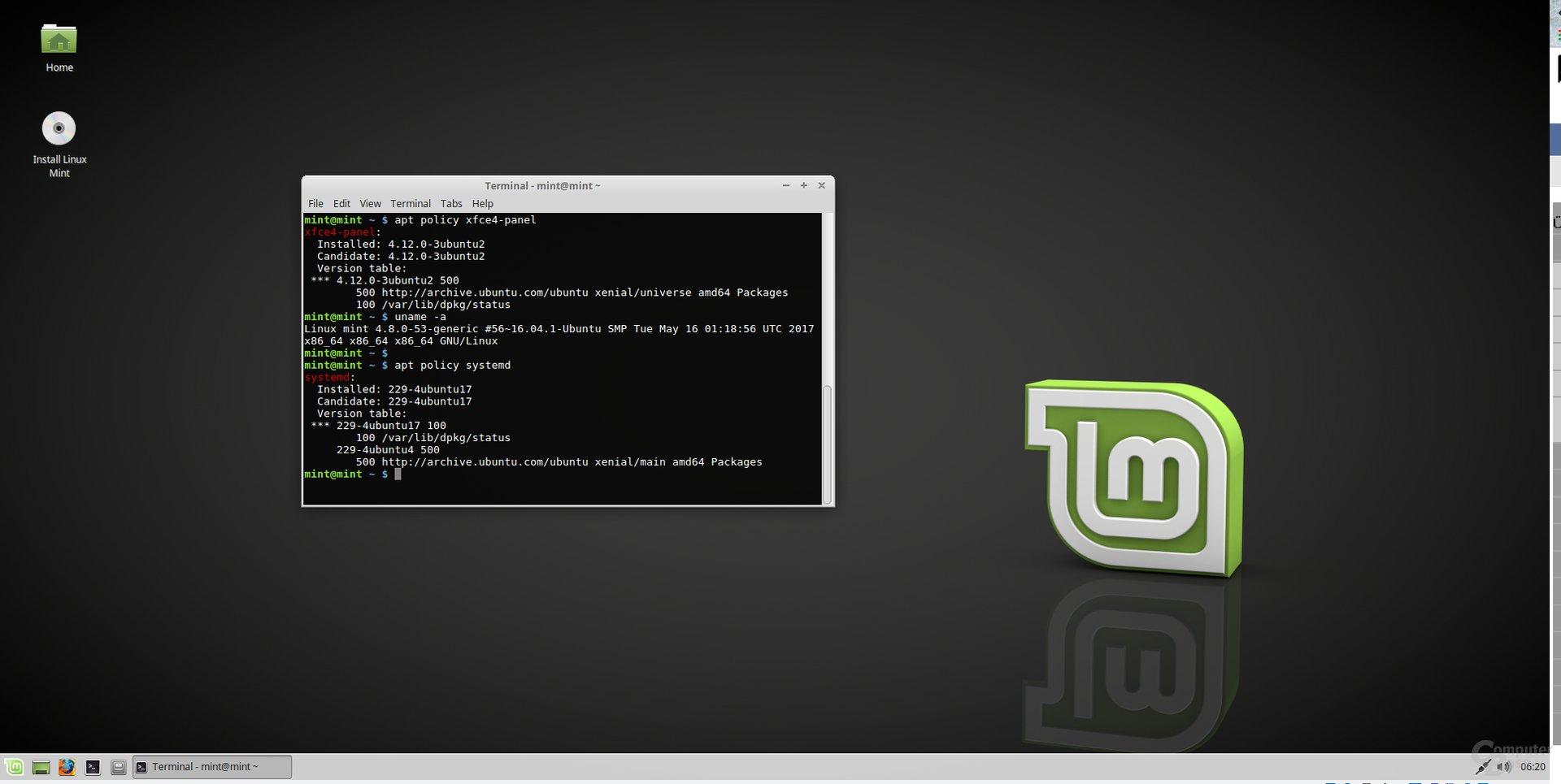 Mint 18.2 Xfce