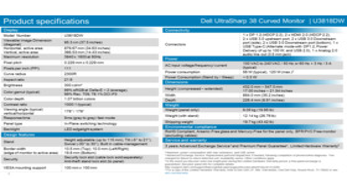 Spezifikationen des Dell Ultrasharp U3818DW