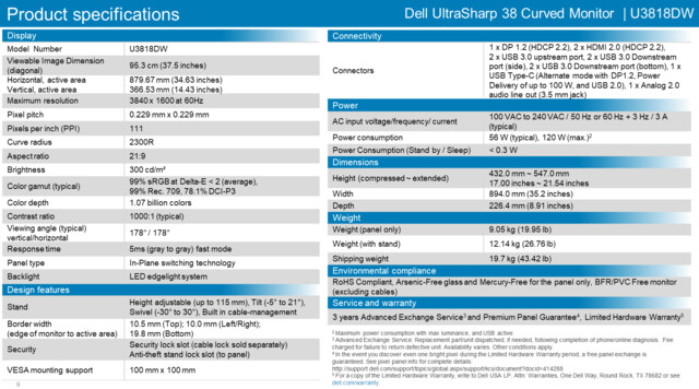 Spezifikationen des Dell Ultrasharp U3818DW
