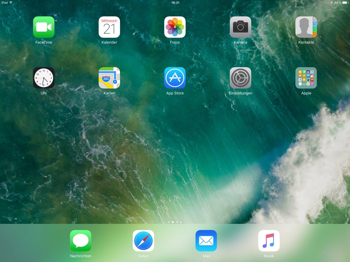 Homescreen unter iOS 10
