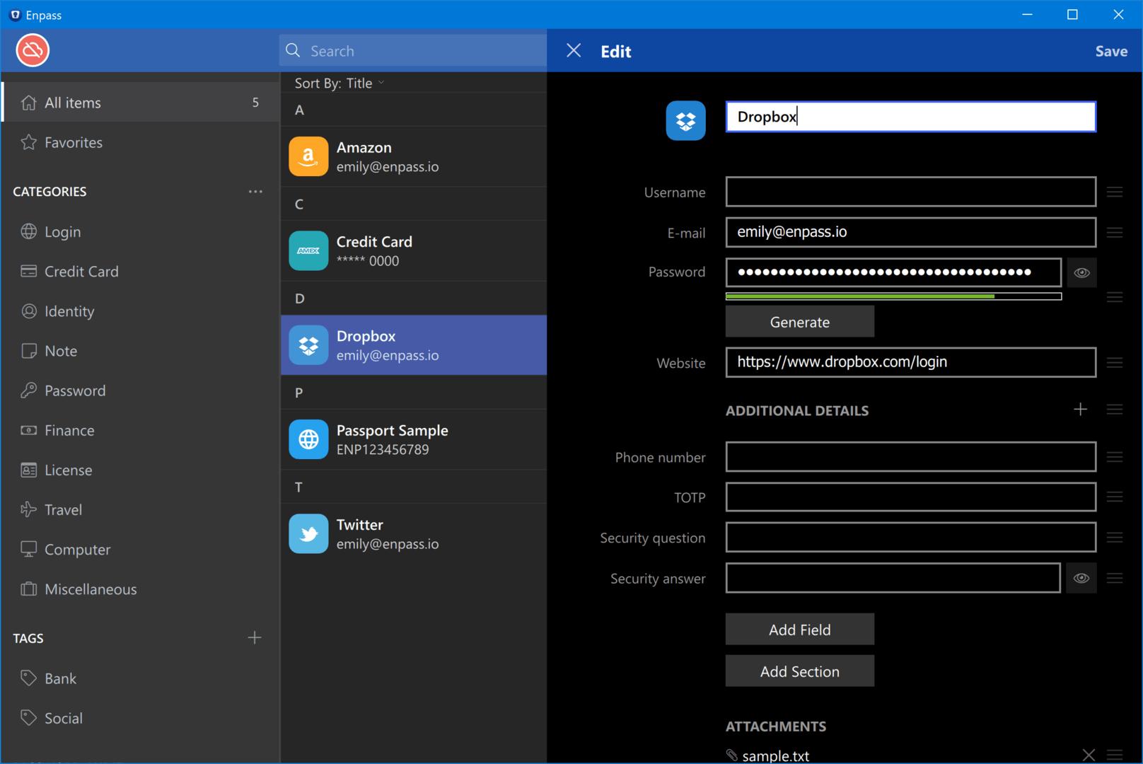 Enpass – Oberfläche (Windows)