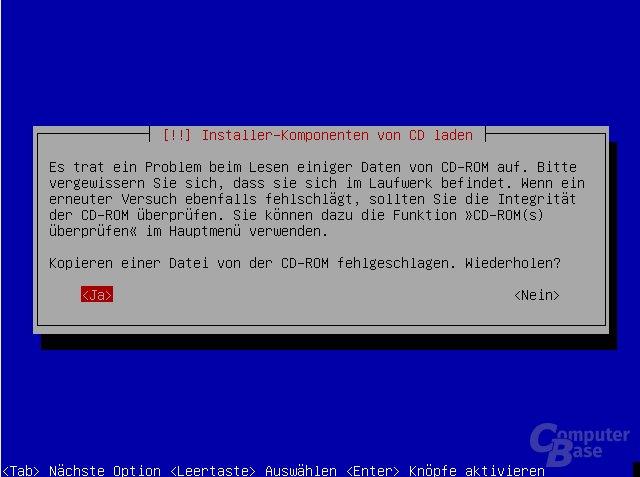 Debian Installer zeigt einen Fehler