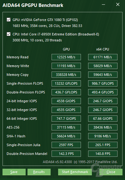 Intel Core i7-6950X im GPGPU-Test von Aida