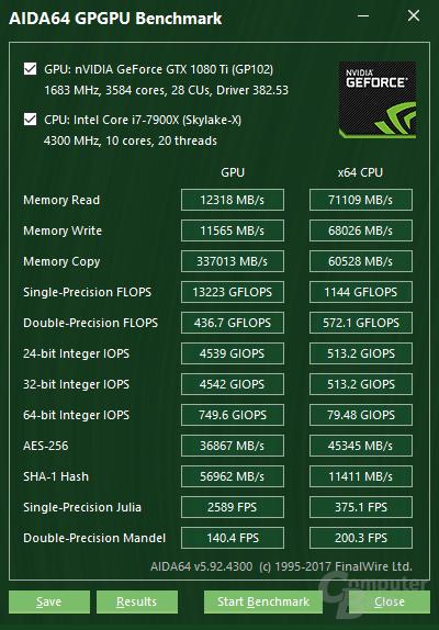 Intel Core i9-7900X im GPGPU-Test von Aida