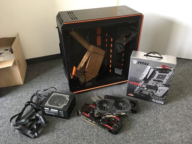 Ausgesuchte Komponenten für einen Mining-PC mit drei GPUs