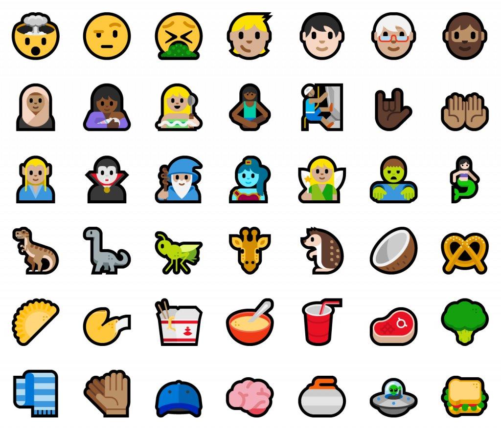 Auswahl neuer Emojis Version 5.0