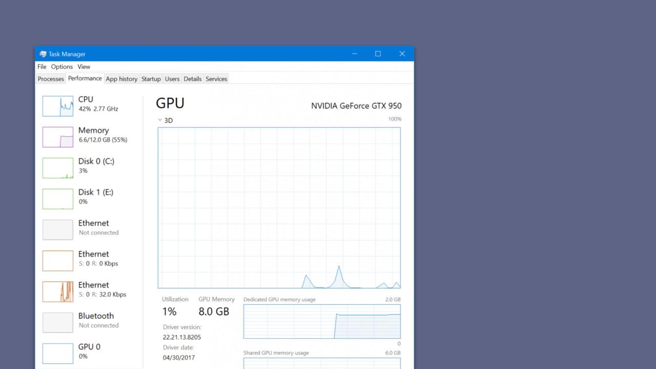 Windows 10 Build 16226: Taskmanager zeigt auch die GPU-Auslastung an
