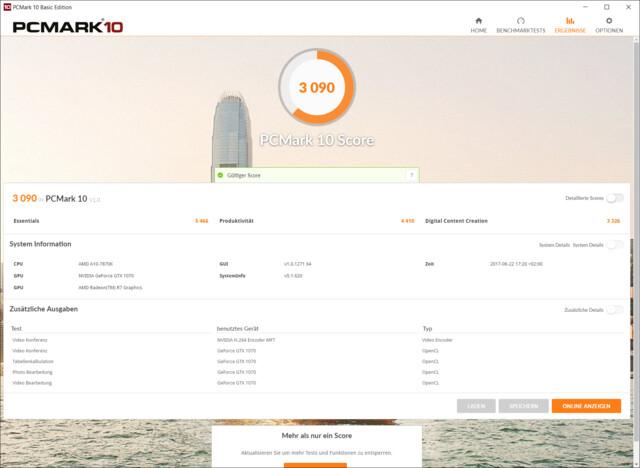 Testresultat im PCMark 10 mit AMD A10-7870K, GeForce GTX 1070 und SATA-SSD
