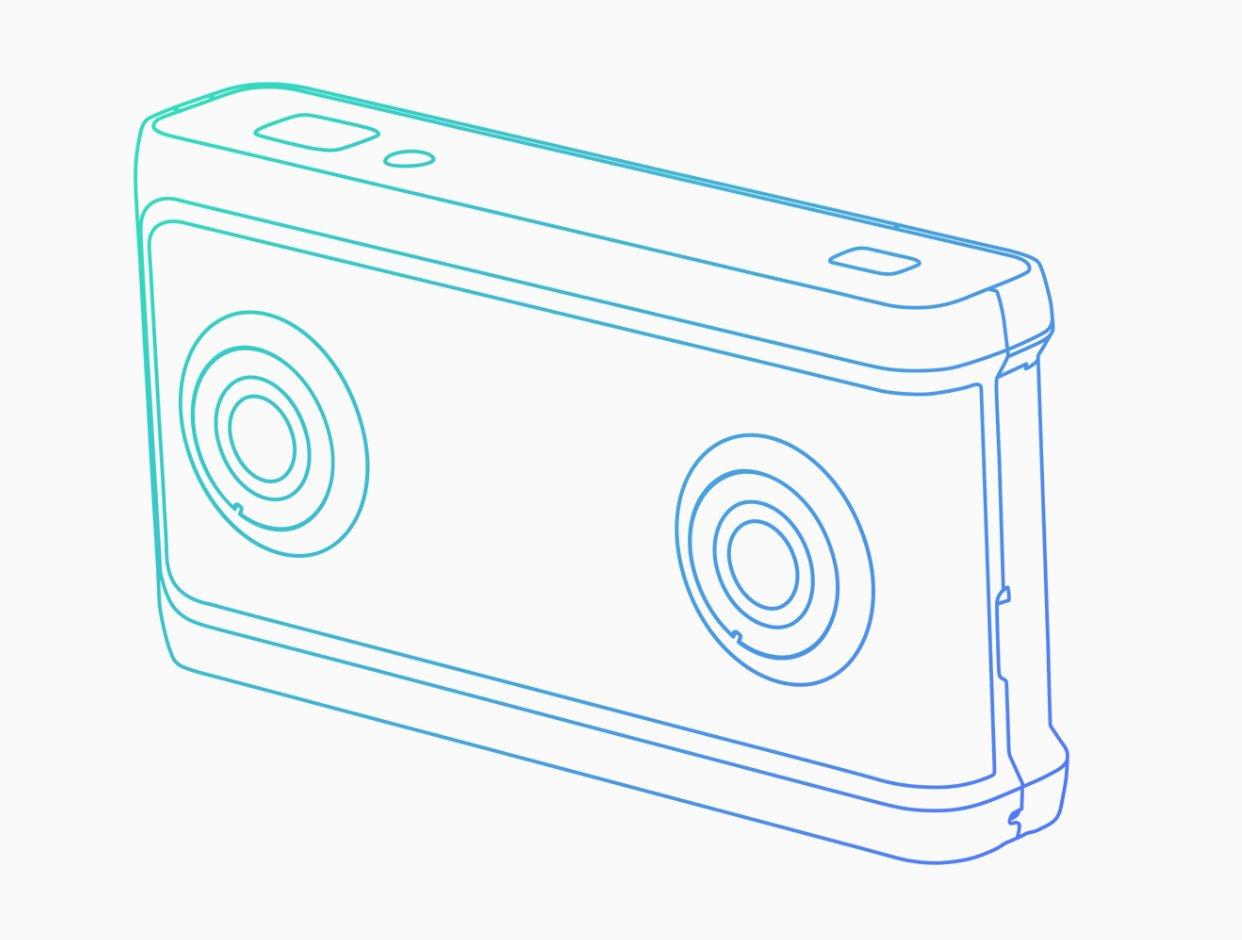Schematische Darstellung einer VR180-Kamera