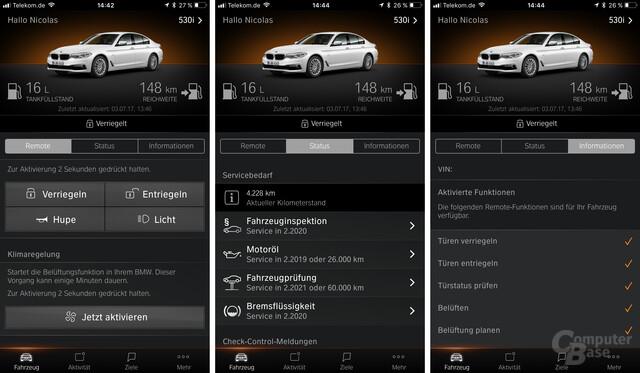 Fahrzeugdaten über Remote, Status und Informationen auslesen