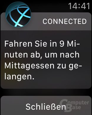 Der Hinweis erscheint auch auf der Apple Watch