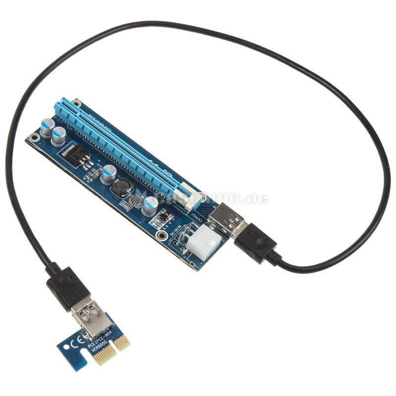 Kolink ZURC-007 – Riser-Karte vermittelt von PCIe x1 auf PCIe x16 über USB-Kabel