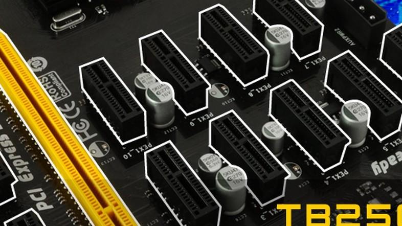 TB250-BTC PRO: Bei Biostar werden Mining-GPUs in Doppelreihe bestückt