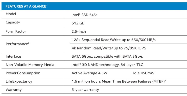 Intel SSD 545s – Spezifikationen