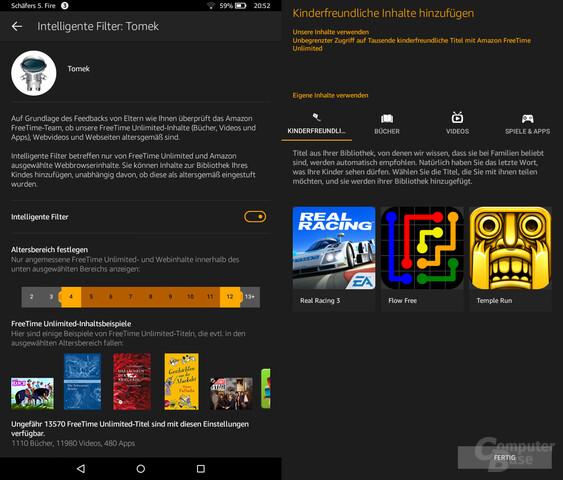 Reichhaltige Filtermöglichkeiten für Inhalte und seltsame Einstufungen von Amazon