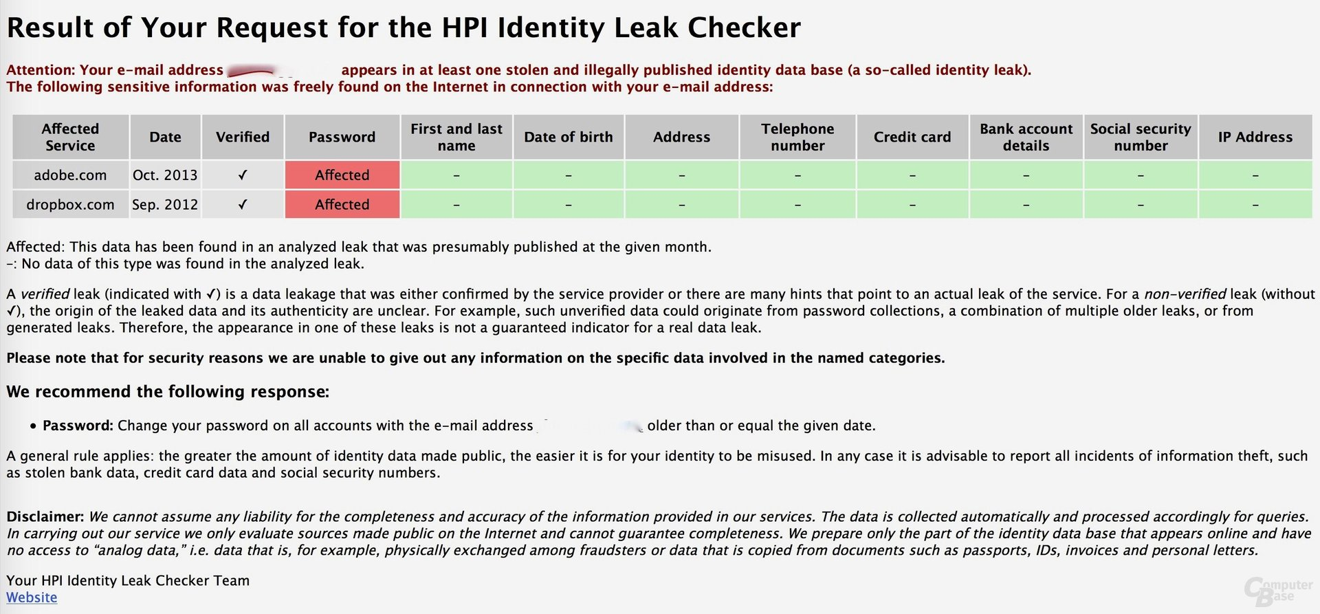 HPI Identity Leak Checker