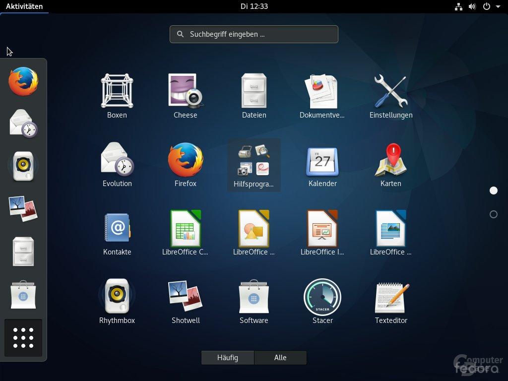 Fedora 26 mit GNOME 3.24