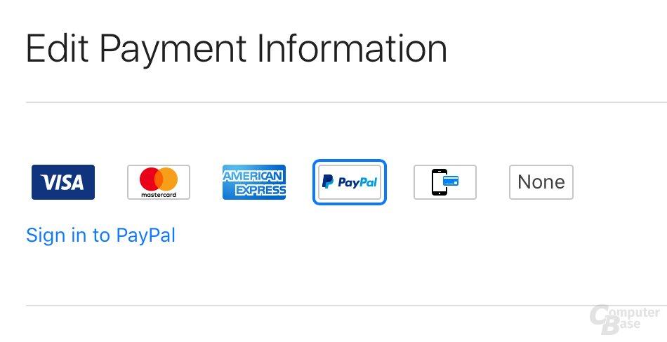 Apple erlaubt ab sofort auch Bezahlen über PayPal