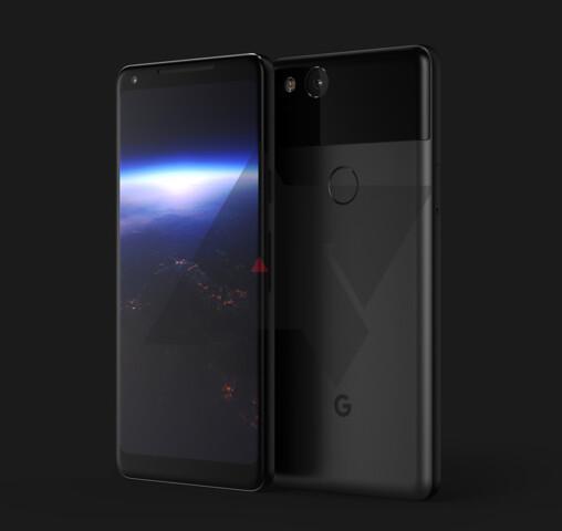Renderbild des Google Pixel XL 2
