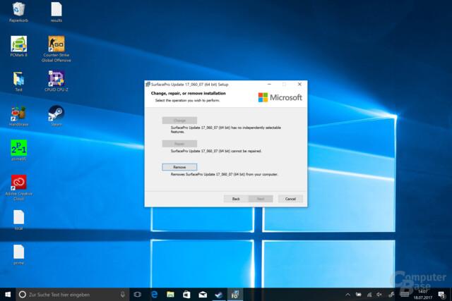 Das Installer meldet: Das Update wurde installiert