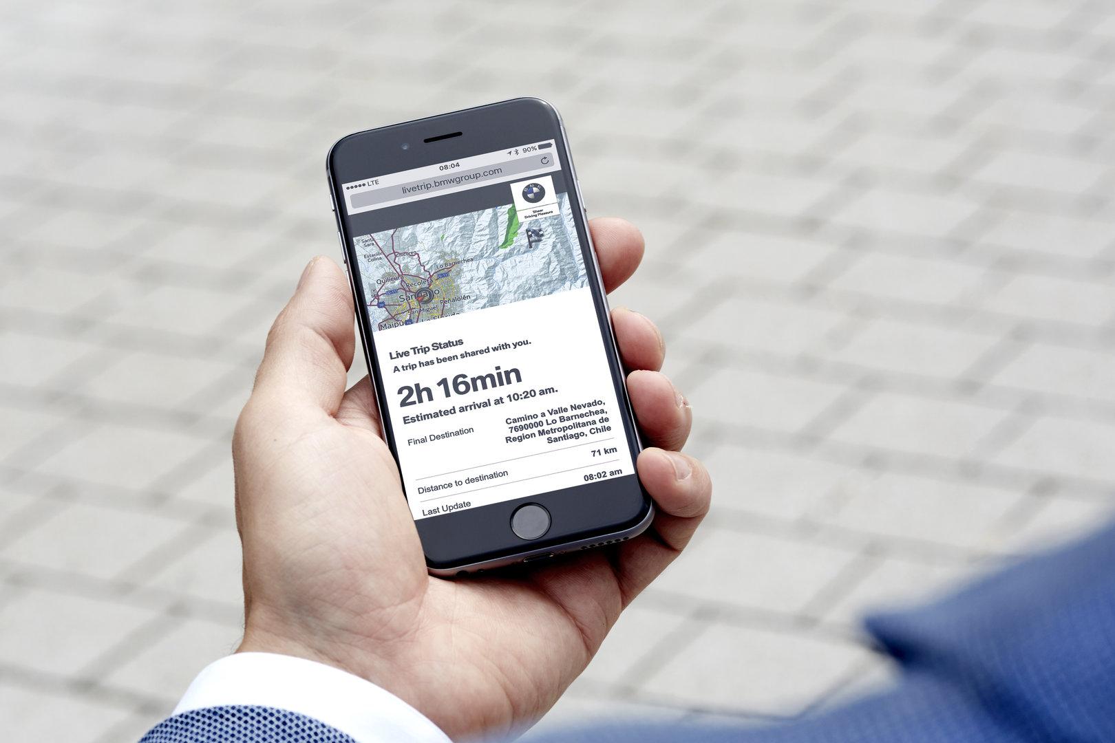 Ansicht der geteilten Route auf dem Smartphone