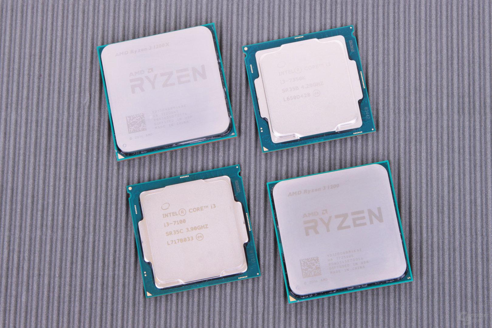 Ryzen 3 1300X und 1200 sowie Core i3-7350K und i3-7100