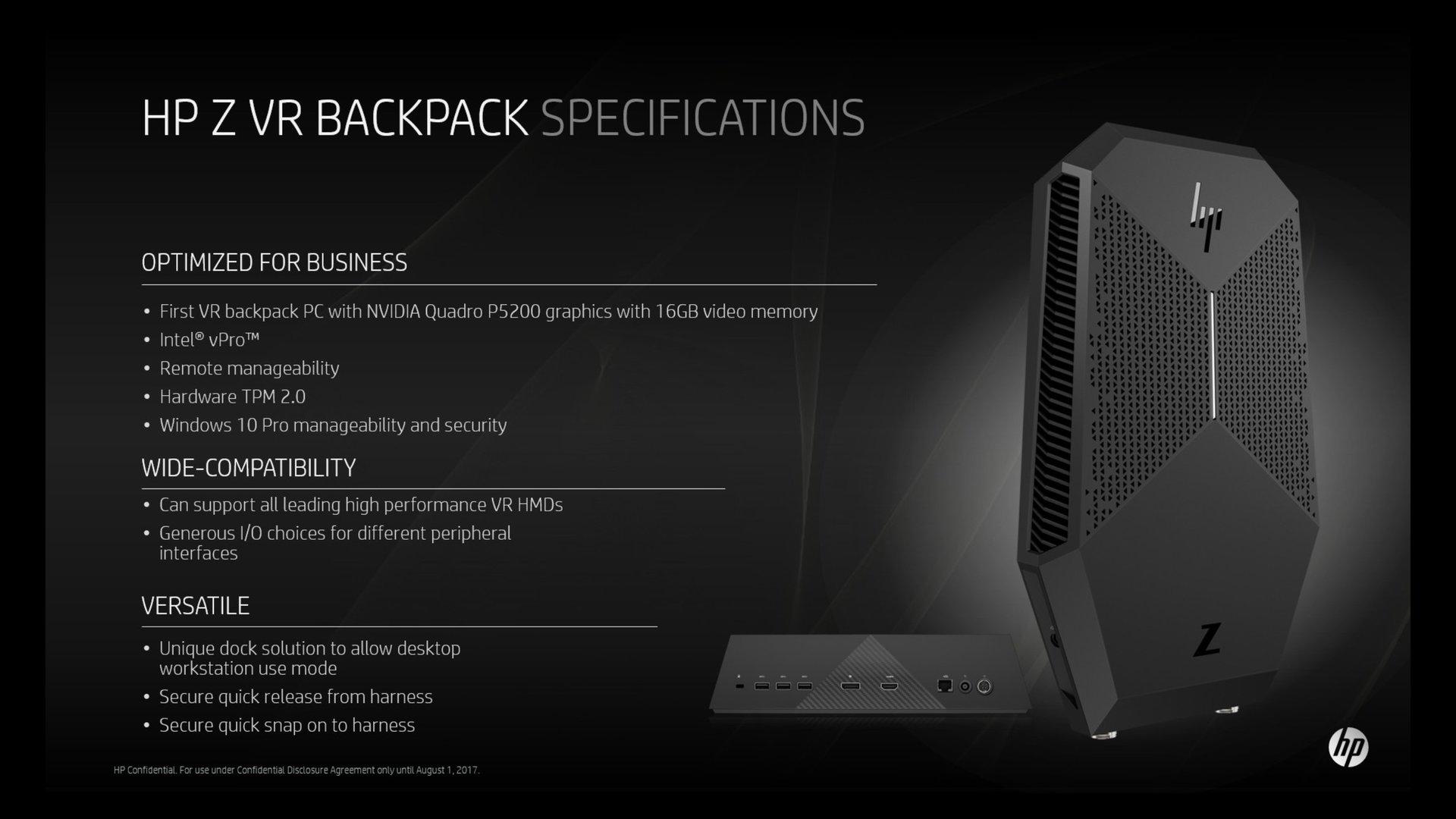 HP Z VR Backpack + Docking Station