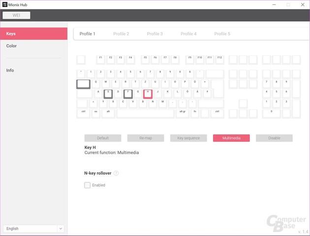 Maximal übersichtlich: Profile und die Programmierung der Tasten sind leicht zugänglich