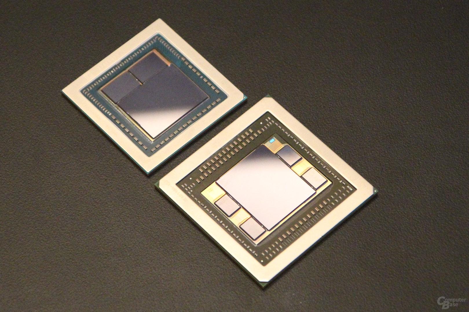 AMD Vega 10 (oben) und Fiji (unten)