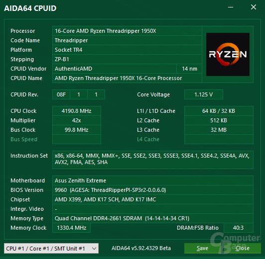 AMD Ryzen Threadripper 1950X im maximalen XFR-Takt