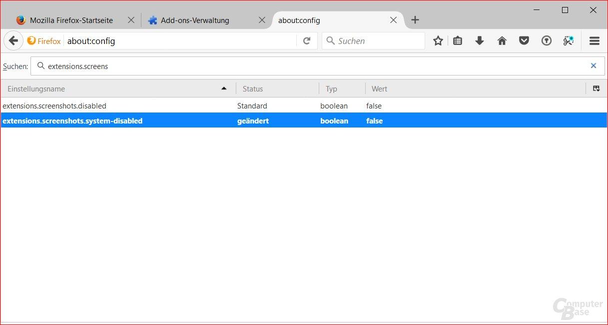 Screenshot-Tool einschalten