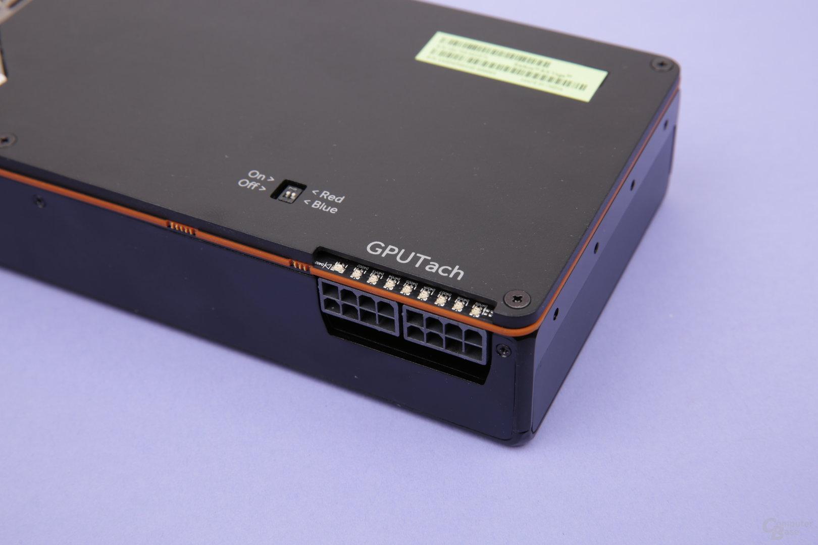 Stromanschlüsse und Auslastungs-LEDs der Radeon RX Vega