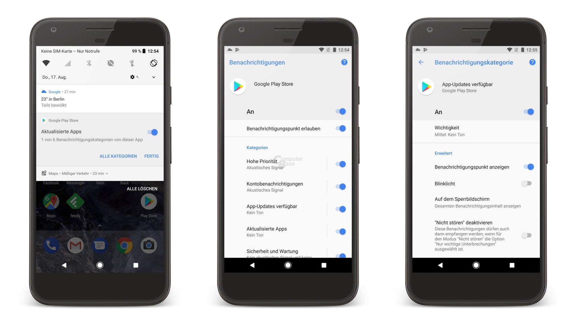 Benachrichtigungskategorien am Beispiel von Google Play